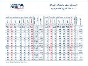 Ramadan Timings 2008 - NBK - امساكية شهر رمضان 2008 - بنك الكويت الوطني