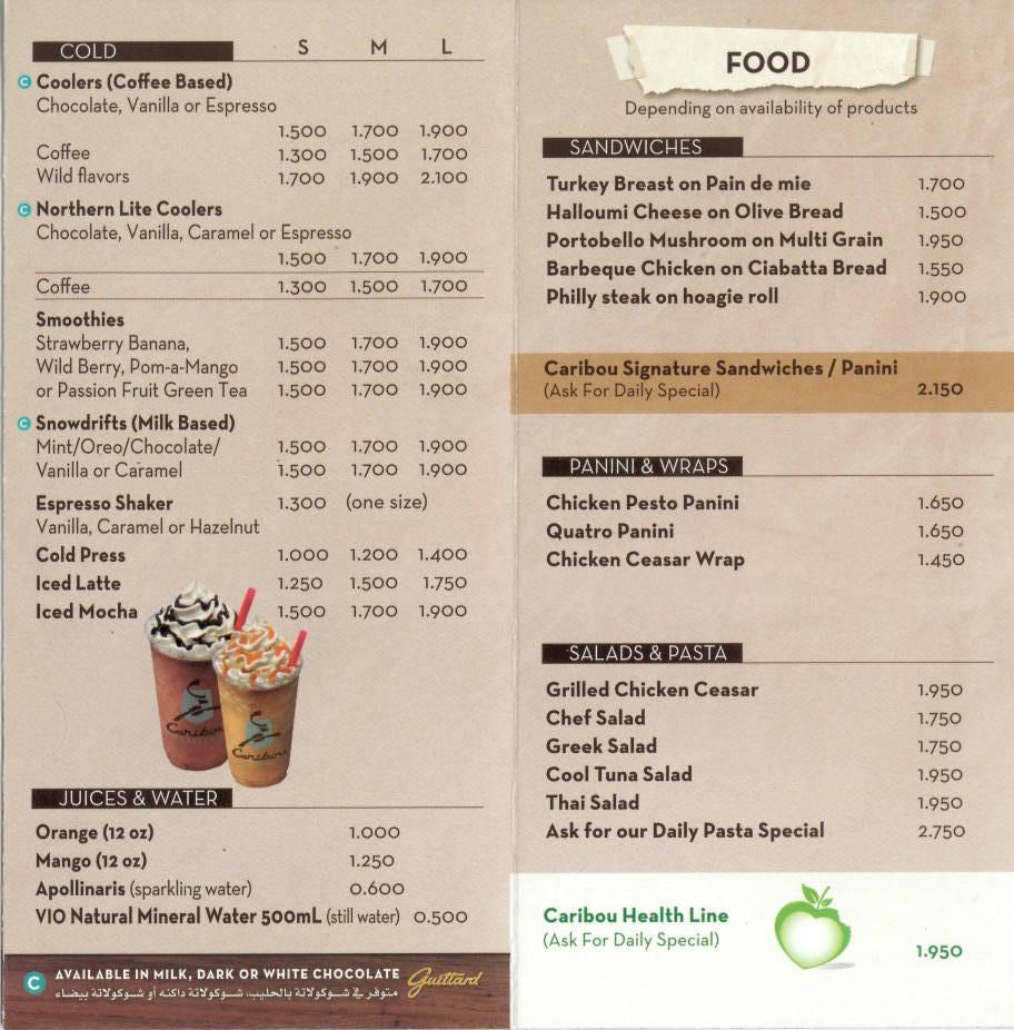 Reindeer Cafe Menu